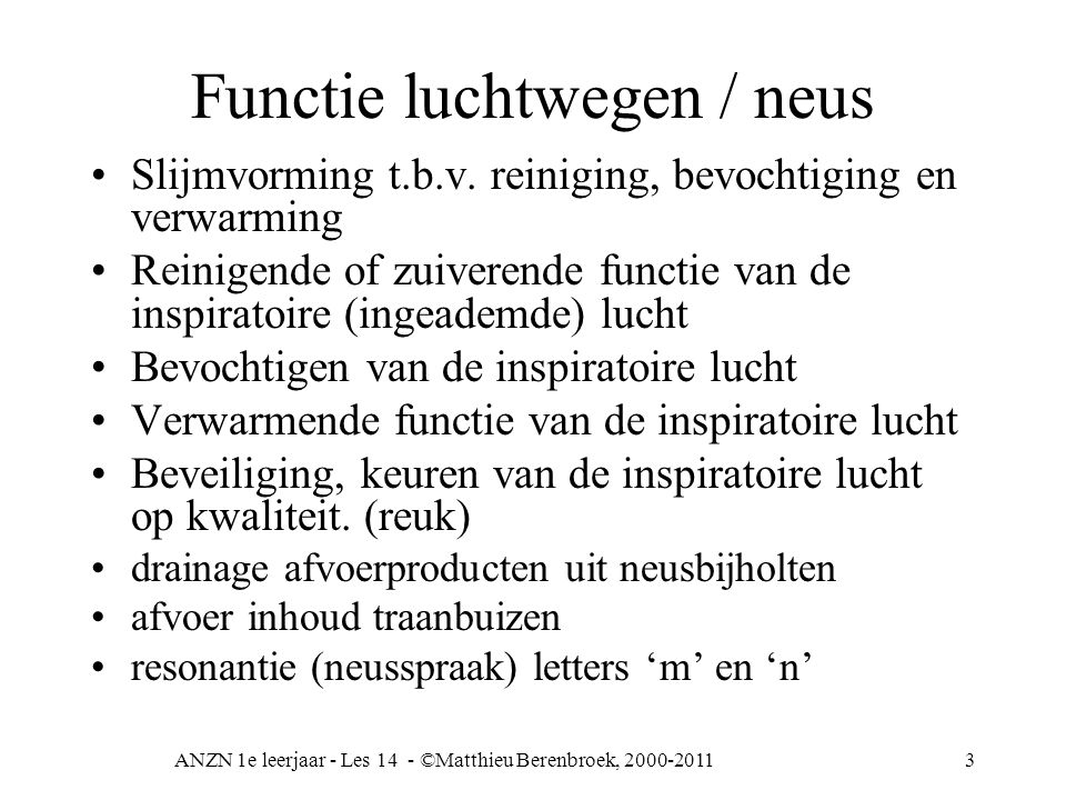 Functie luchtwegen / neus