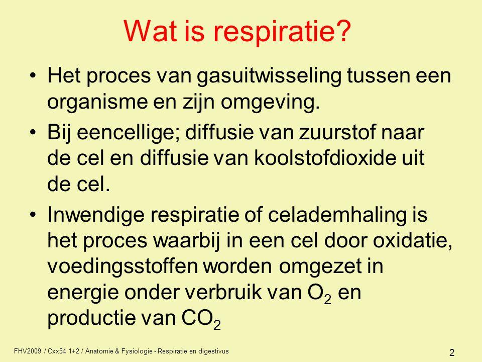 Wat is respiratie Het proces van gasuitwisseling tussen een organisme en zijn omgeving.