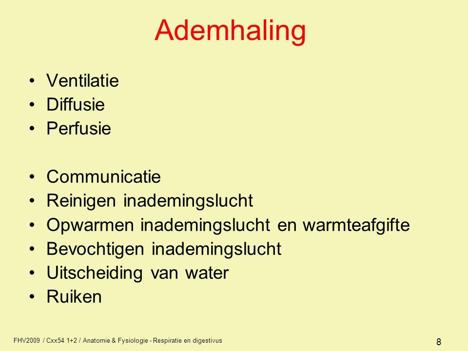 Ademhaling Ventilatie Diffusie Perfusie Communicatie
