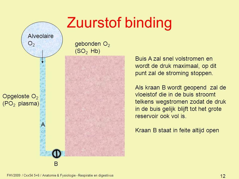Zuurstof binding Alveolaire O2 gebonden O2 (SO2 Hb)