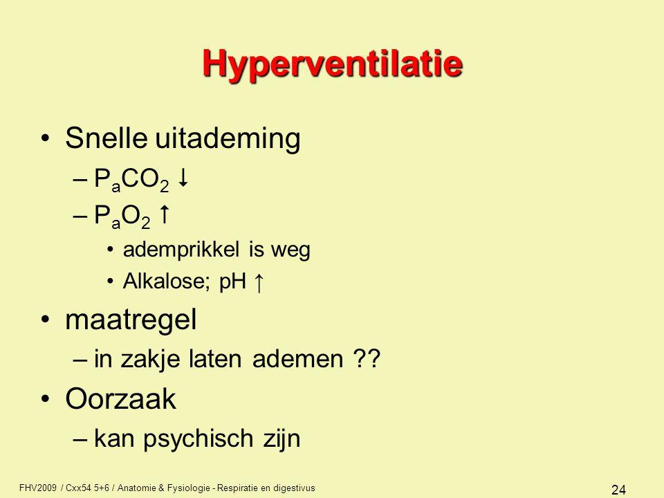 Hyperventilatie Snelle uitademing maatregel Oorzaak PaCO2  PaO2 