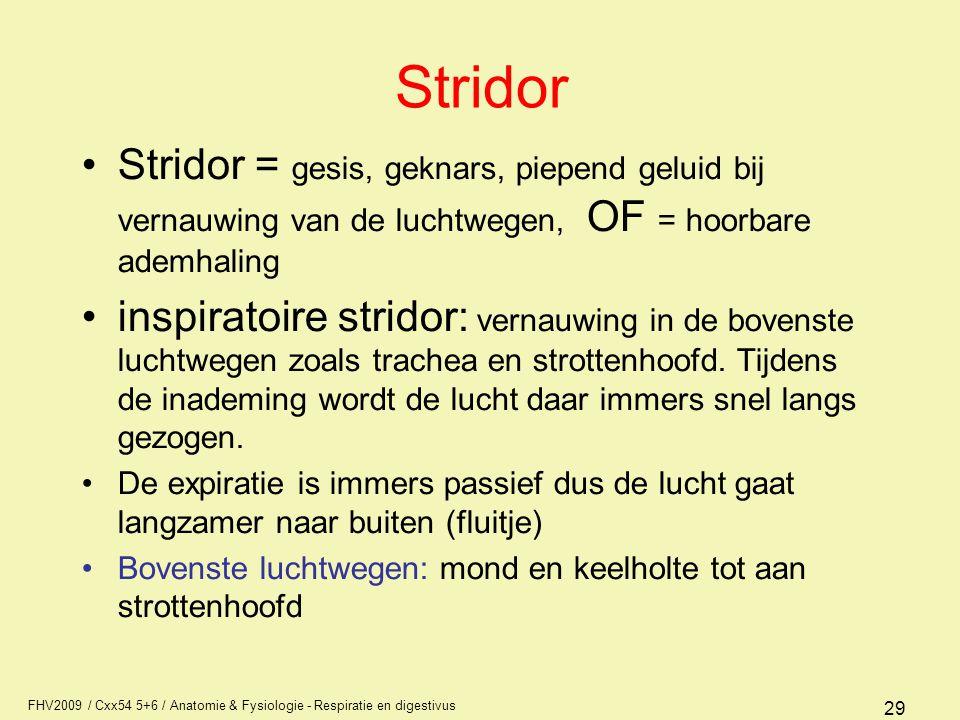 Stridor Stridor = gesis, geknars, piepend geluid bij vernauwing van de luchtwegen, OF = hoorbare ademhaling.