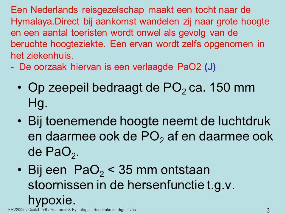 Op zeepeil bedraagt de PO2 ca. 150 mm Hg.