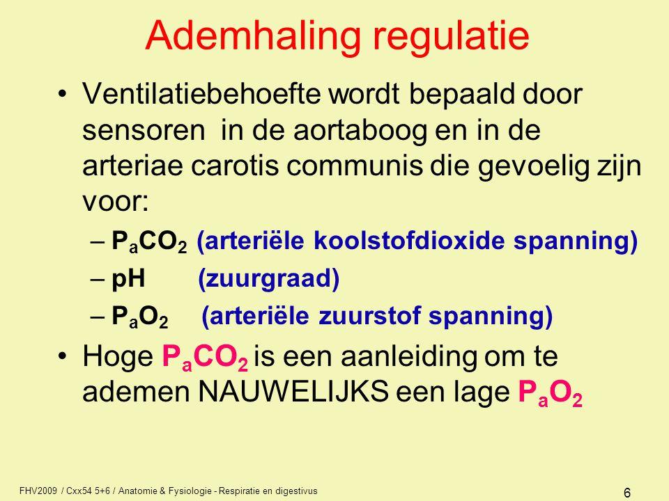 Ademhaling regulatie Ventilatiebehoefte wordt bepaald door sensoren in de aortaboog en in de arteriae carotis communis die gevoelig zijn voor: