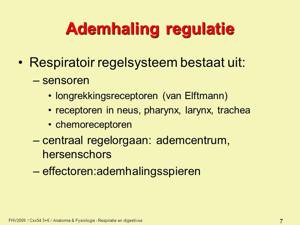 Ademhaling regulatie Respiratoir regelsysteem bestaat uit: sensoren
