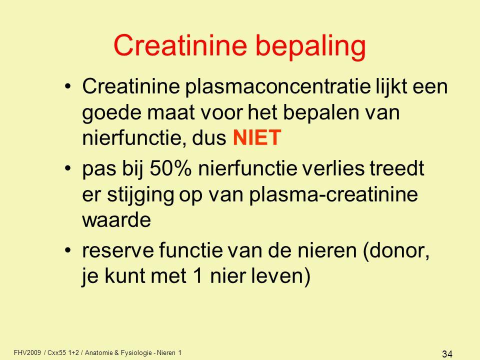 Creatinine bepaling Creatinine plasmaconcentratie lijkt een goede maat voor het bepalen van nierfunctie, dus NIET.