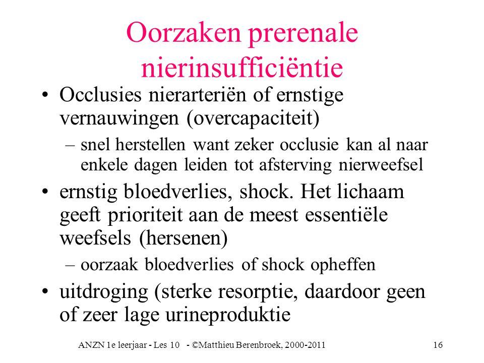Oorzaken prerenale nierinsufficiëntie