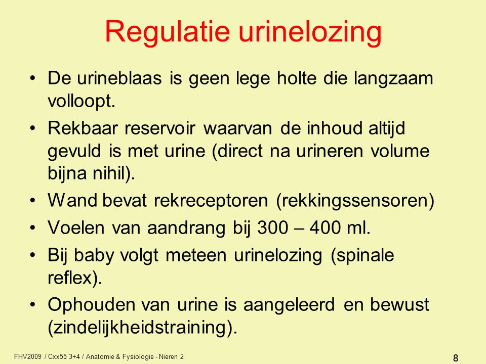 Regulatie urinelozing