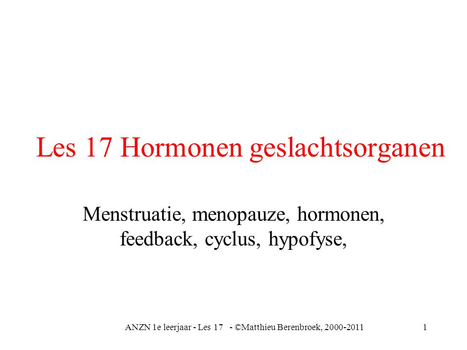 Les 17 Hormonen geslachtsorganen