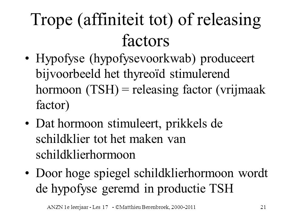 Trope (affiniteit tot) of releasing factors