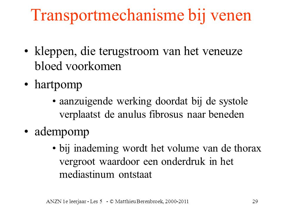 Transportmechanisme bij venen