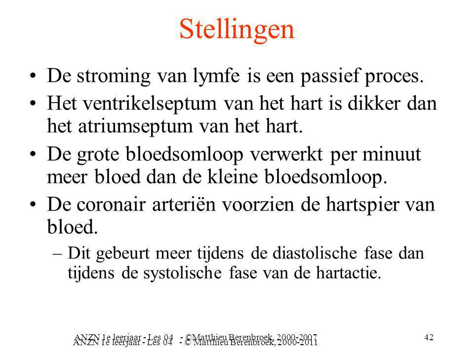 Stellingen De stroming van lymfe is een passief proces.
