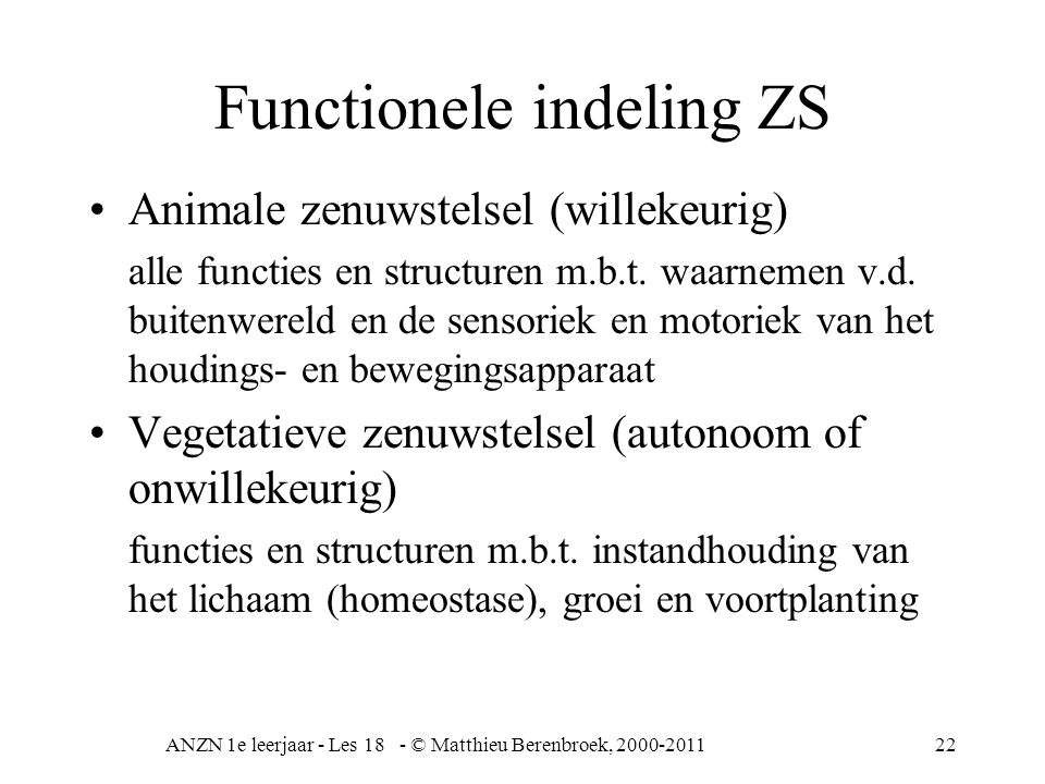 Functionele indeling ZS