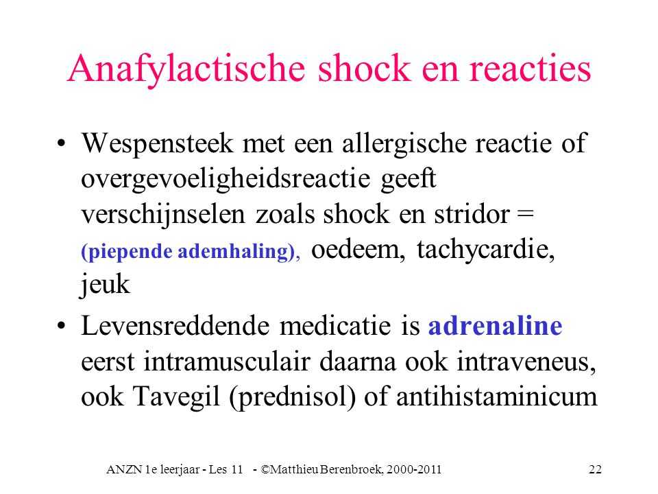 Anafylactische shock en reacties