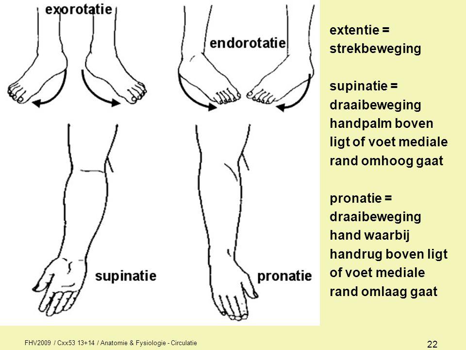 extentie = strekbeweging supinatie = draaibeweging handpalm boven