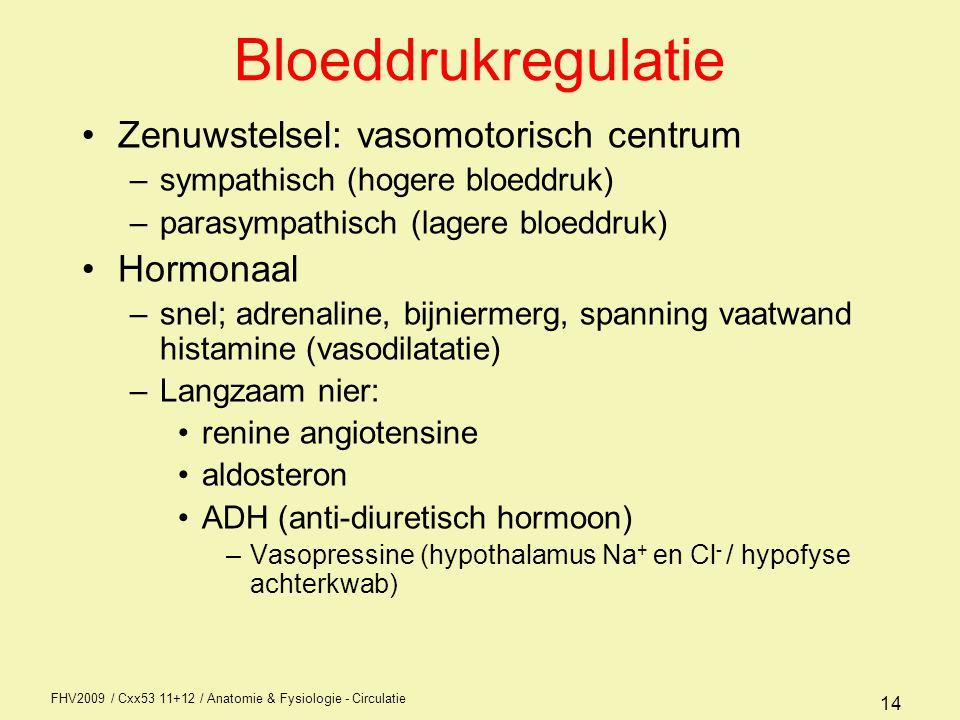 Bloeddrukregulatie Zenuwstelsel: vasomotorisch centrum Hormonaal