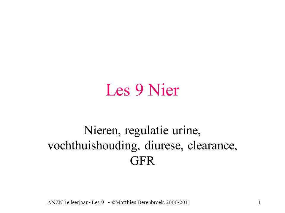 Nieren, regulatie urine, vochthuishouding, diurese, clearance, GFR