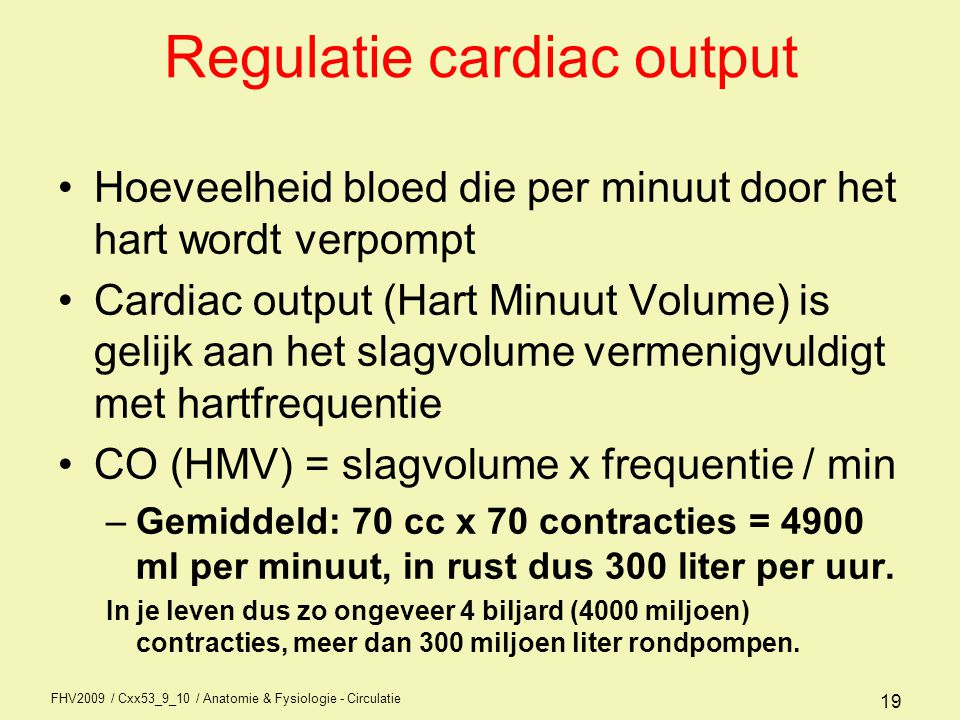 Regulatie cardiac output