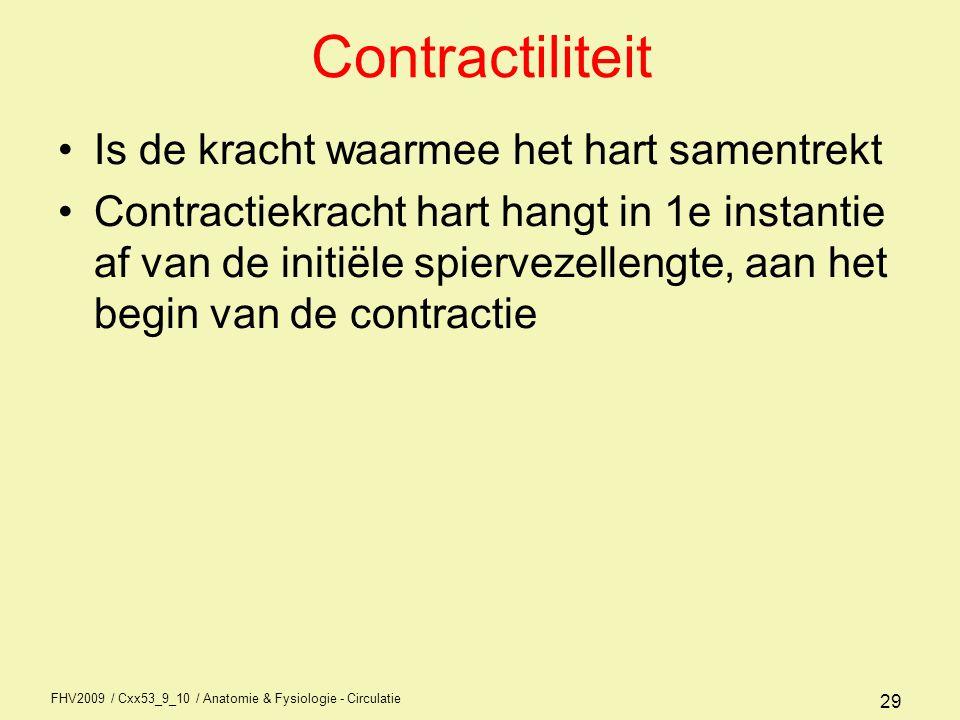 Contractiliteit Is de kracht waarmee het hart samentrekt