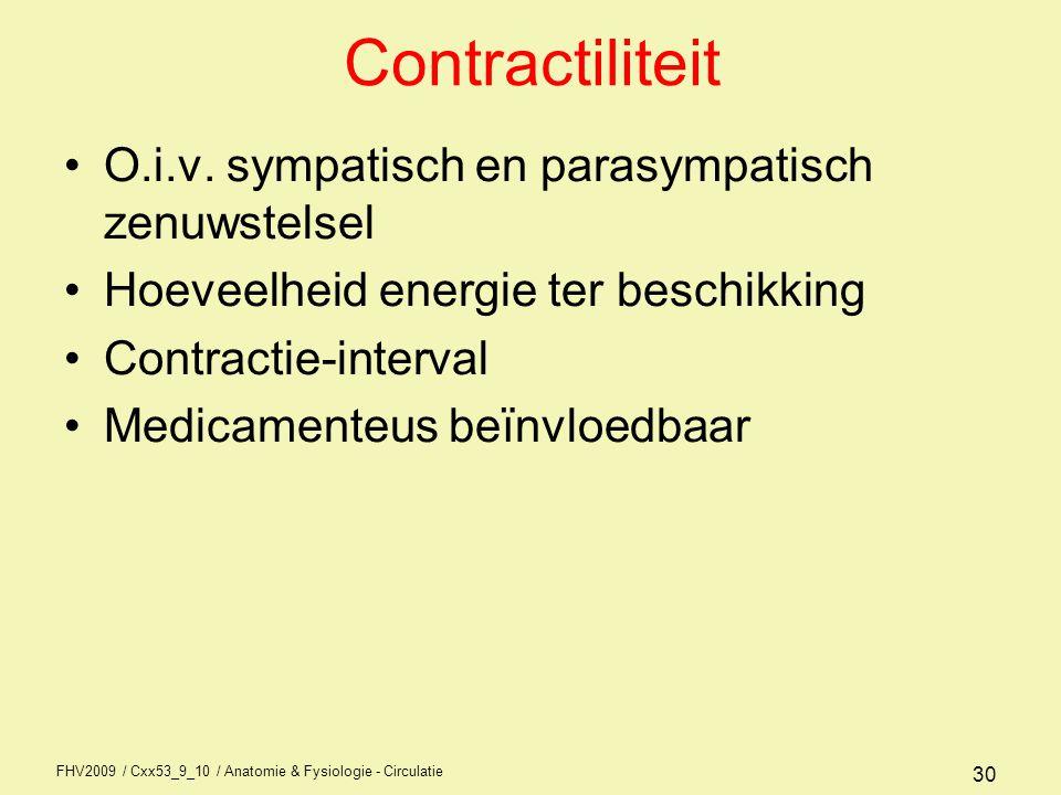Contractiliteit O.i.v. sympatisch en parasympatisch zenuwstelsel