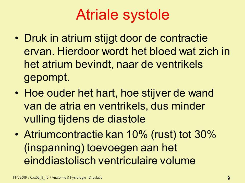 Atriale systole Druk in atrium stijgt door de contractie ervan. Hierdoor wordt het bloed wat zich in het atrium bevindt, naar de ventrikels gepompt.