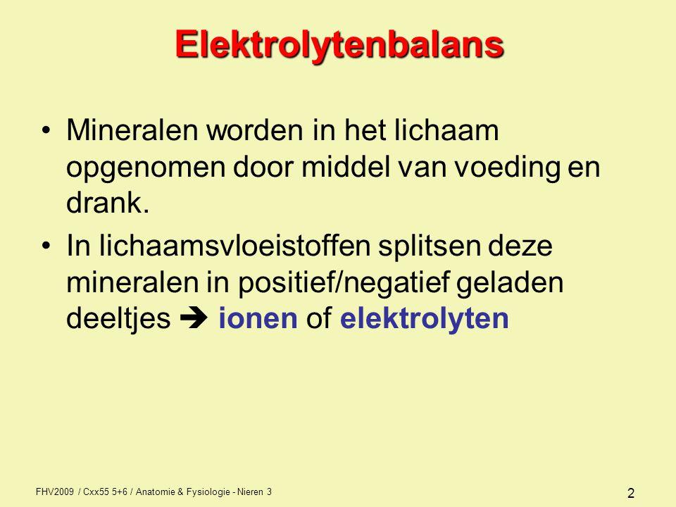 Elektrolytenbalans Mineralen worden in het lichaam opgenomen door middel van voeding en drank.