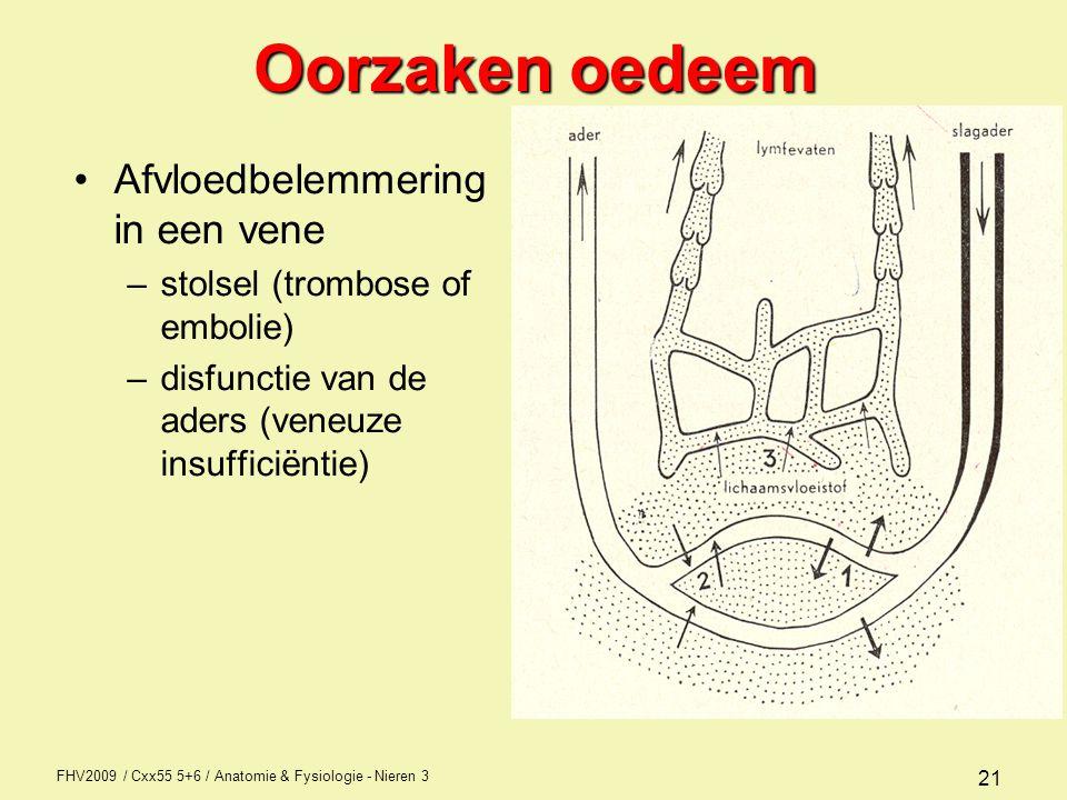 Oorzaken oedeem Afvloedbelemmering in een vene