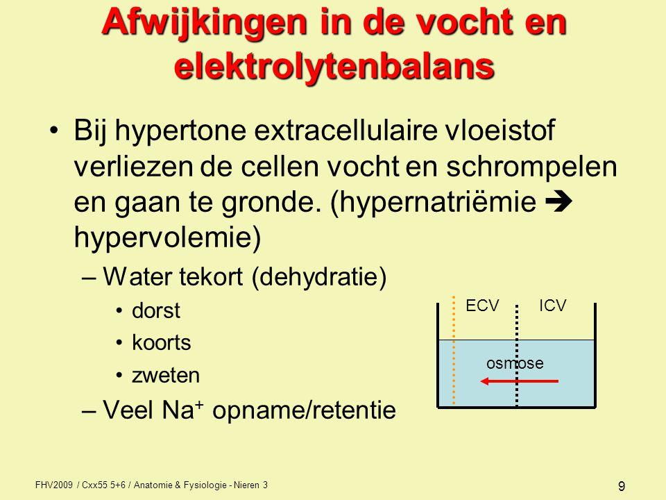 Afwijkingen in de vocht en elektrolytenbalans
