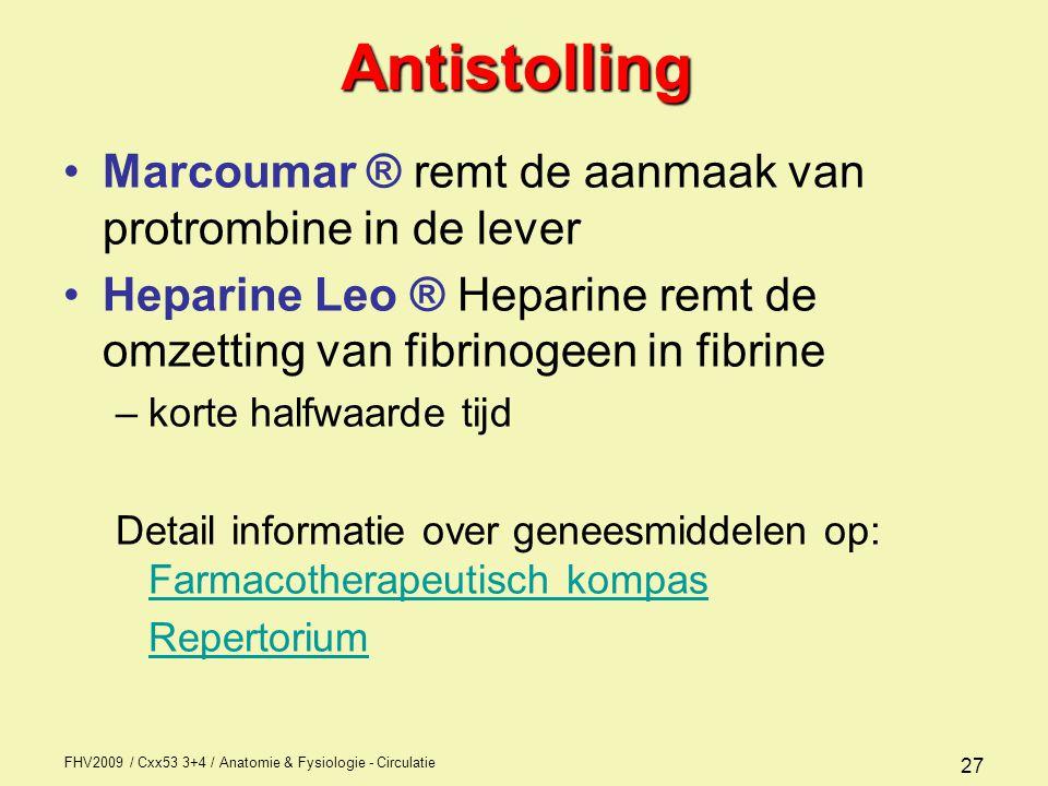 Antistolling Marcoumar ® remt de aanmaak van protrombine in de lever
