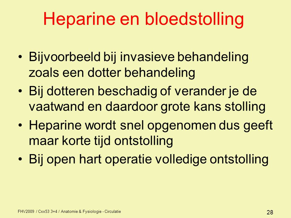 Heparine en bloedstolling