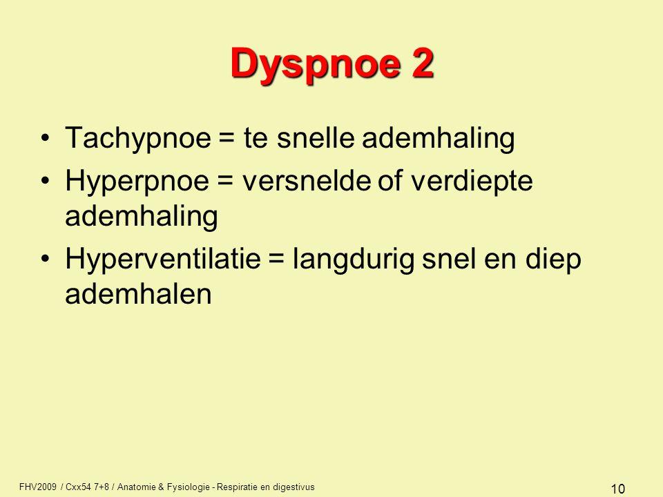 Dyspnoe 2 Tachypnoe = te snelle ademhaling