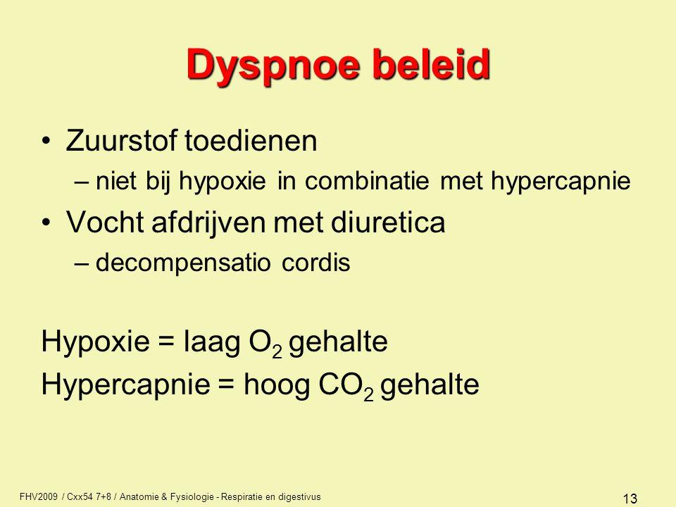 Dyspnoe beleid Zuurstof toedienen Vocht afdrijven met diuretica