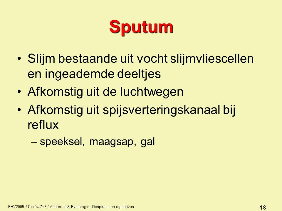 Sputum Slijm bestaande uit vocht slijmvliescellen en ingeademde deeltjes. Afkomstig uit de luchtwegen.