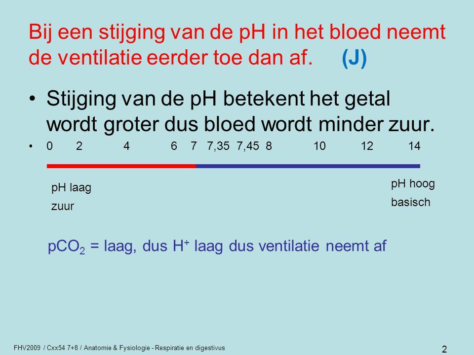 Bij een stijging van de pH in het bloed neemt de ventilatie eerder toe dan af. (J)