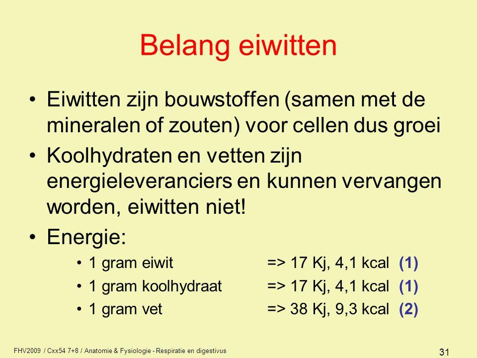 Belang eiwitten Eiwitten zijn bouwstoffen (samen met de mineralen of zouten) voor cellen dus groei.