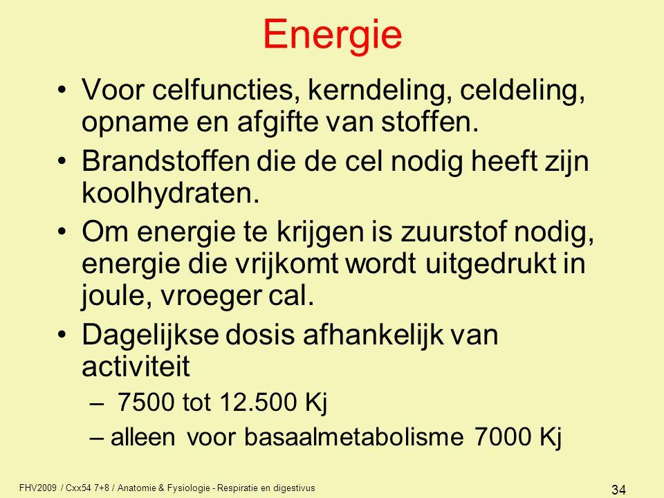 Energie Voor celfuncties, kerndeling, celdeling, opname en afgifte van stoffen. Brandstoffen die de cel nodig heeft zijn koolhydraten.