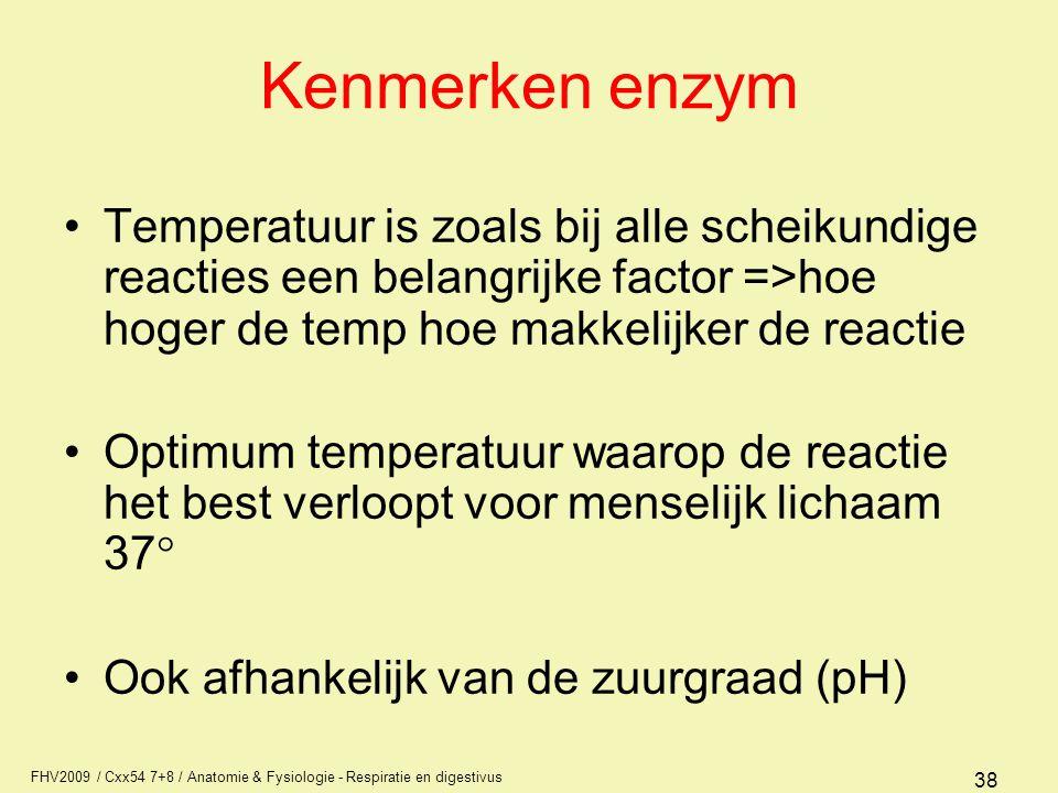 Kenmerken enzym Temperatuur is zoals bij alle scheikundige reacties een belangrijke factor =>hoe hoger de temp hoe makkelijker de reactie.