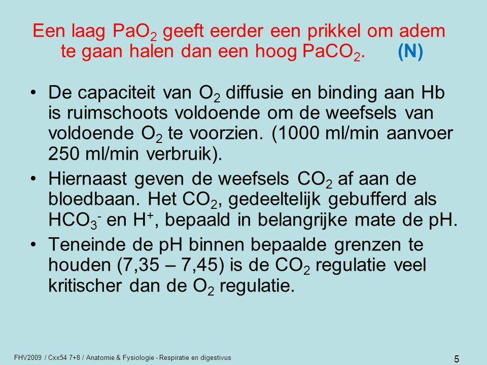 Een laag PaO2 geeft eerder een prikkel om adem te gaan halen dan een hoog PaCO2. (N)