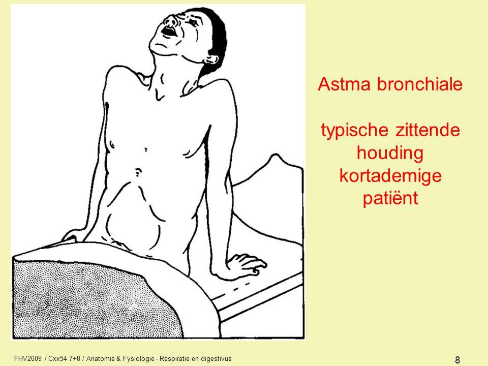 Astma bronchiale typische zittende houding kortademige patiënt
