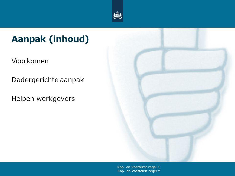 Aanpak (inhoud) Voorkomen Dadergerichte aanpak Helpen werkgevers