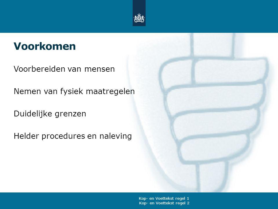 Voorkomen Voorbereiden van mensen Nemen van fysiek maatregelen Duidelijke grenzen Helder procedures en naleving