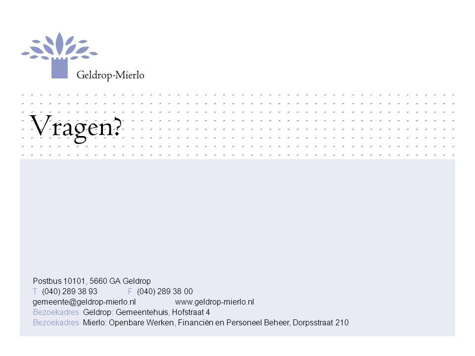Vragen Postbus 10101, 5660 GA Geldrop