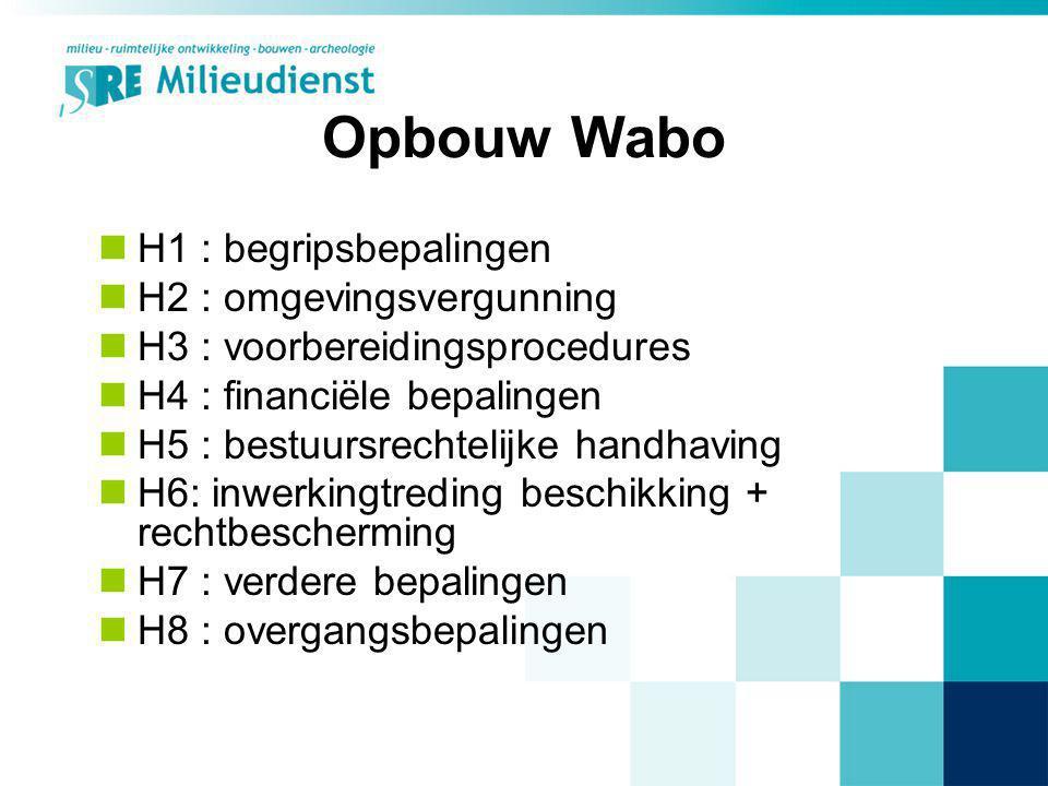 Opbouw Wabo H1 : begripsbepalingen H2 : omgevingsvergunning