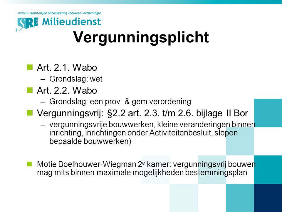 Vergunningsplicht Art. 2.1. Wabo Art. 2.2. Wabo