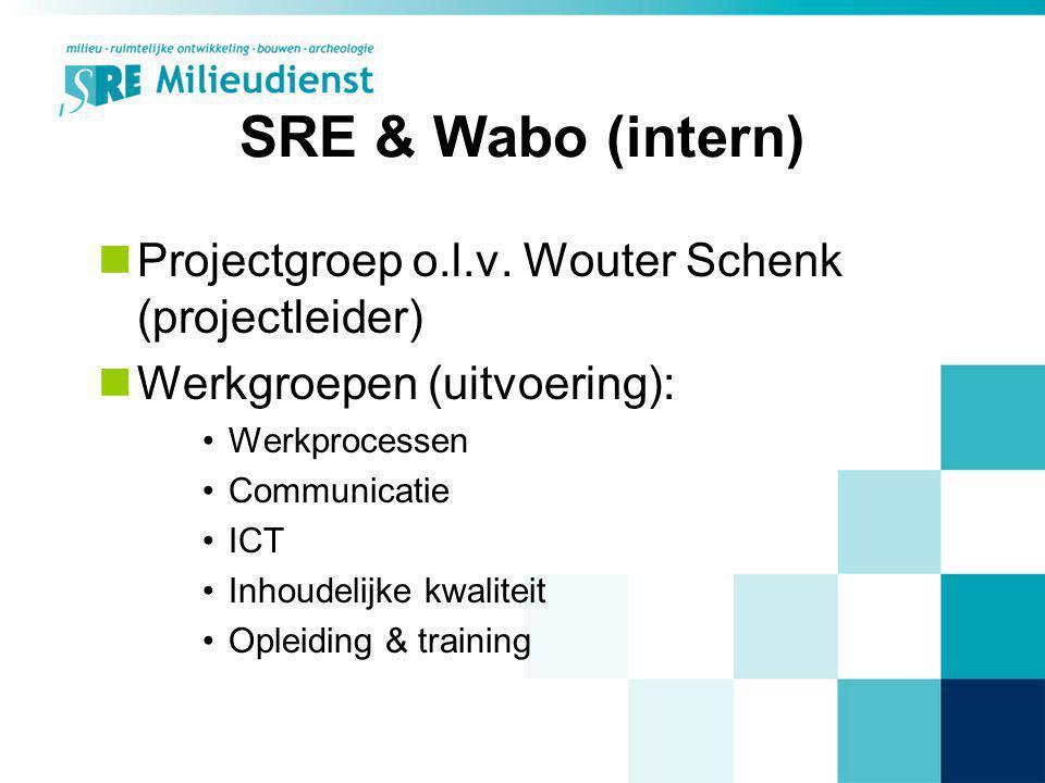 SRE & Wabo (intern) Projectgroep o.l.v. Wouter Schenk (projectleider)