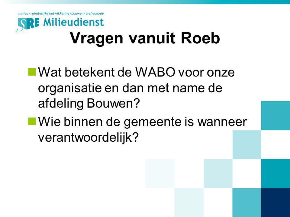 Vragen vanuit Roeb Wat betekent de WABO voor onze organisatie en dan met name de afdeling Bouwen