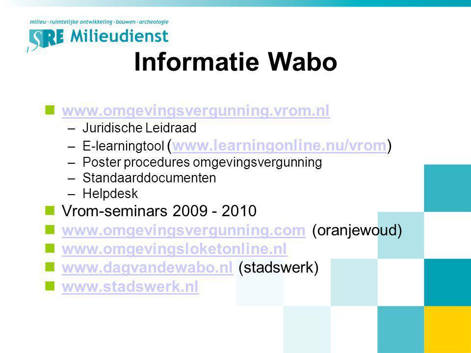 Informatie Wabo www.omgevingsvergunning.vrom.nl