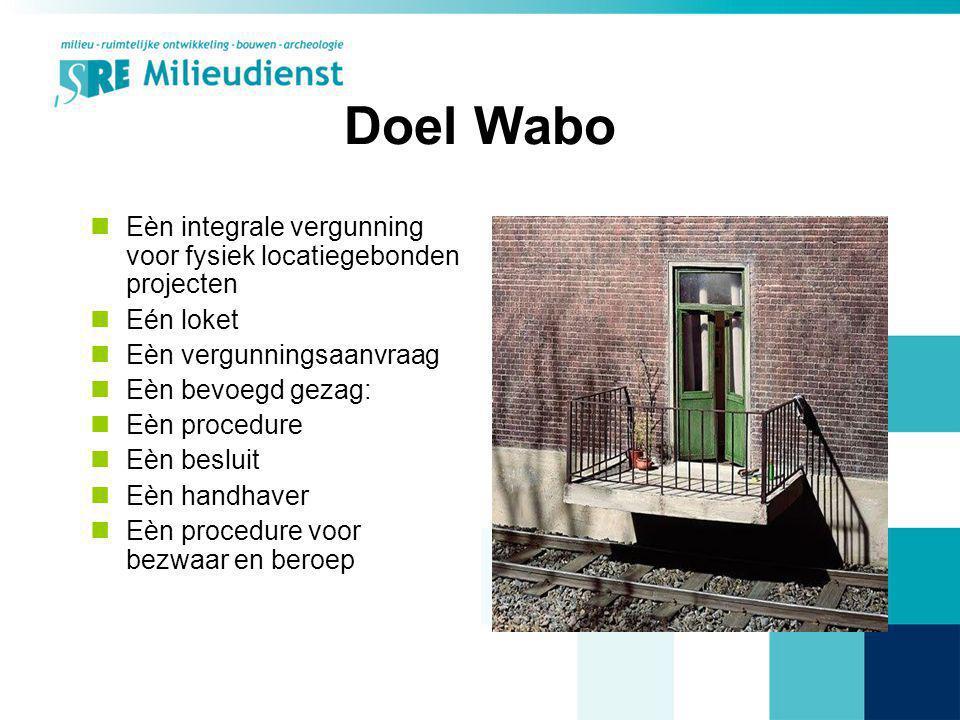Doel Wabo Eèn integrale vergunning voor fysiek locatiegebonden projecten. Eén loket. Eèn vergunningsaanvraag.