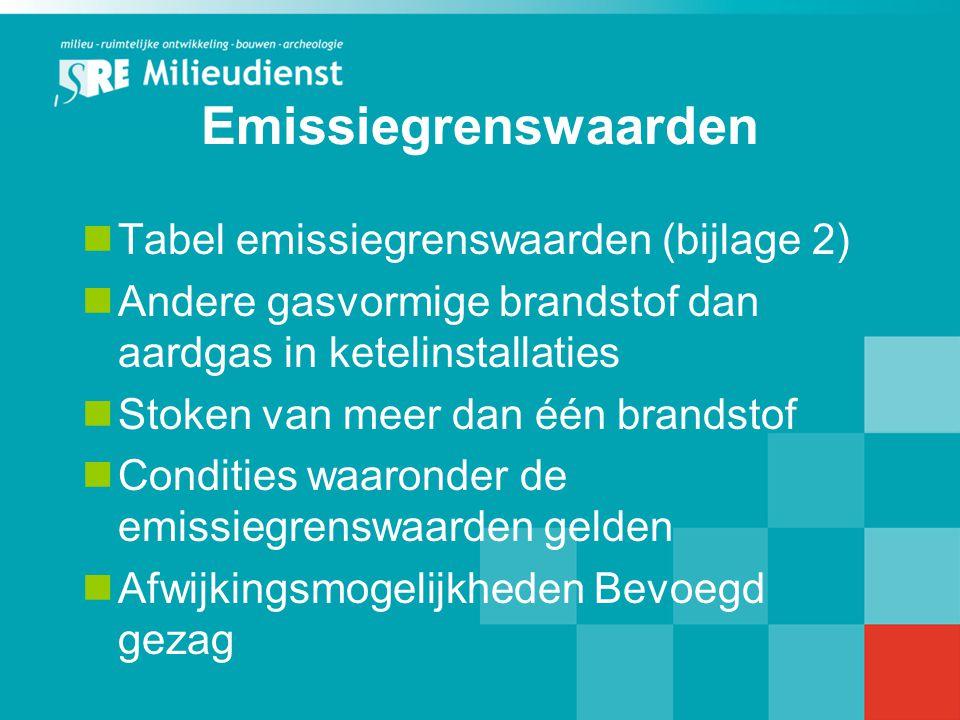 Emissiegrenswaarden Tabel emissiegrenswaarden (bijlage 2)