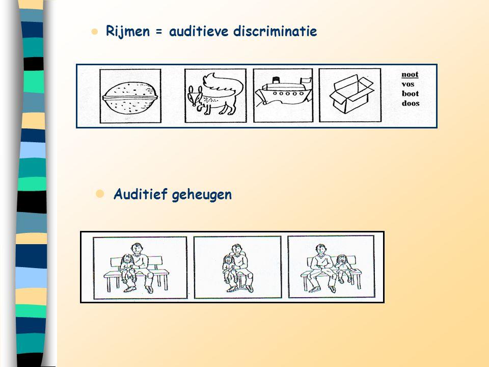 Rijmen = auditieve discriminatie